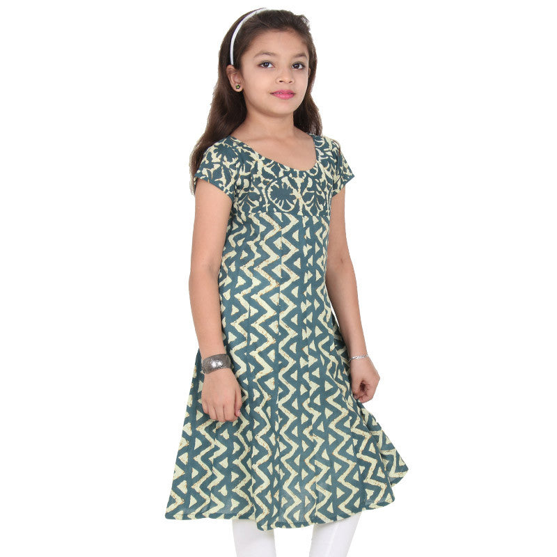 Sagebrush Green Dyed Prints Pure Cotton Anarkali From eSTYLe Girls