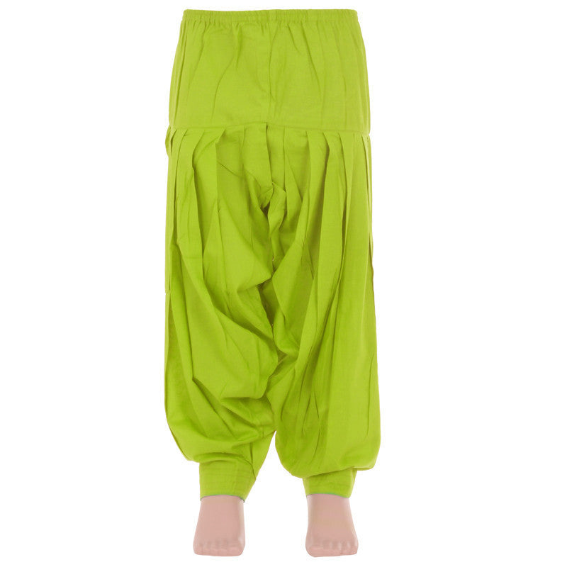 eSTYle Girls Parrot Green Cotton Patiala For Kids