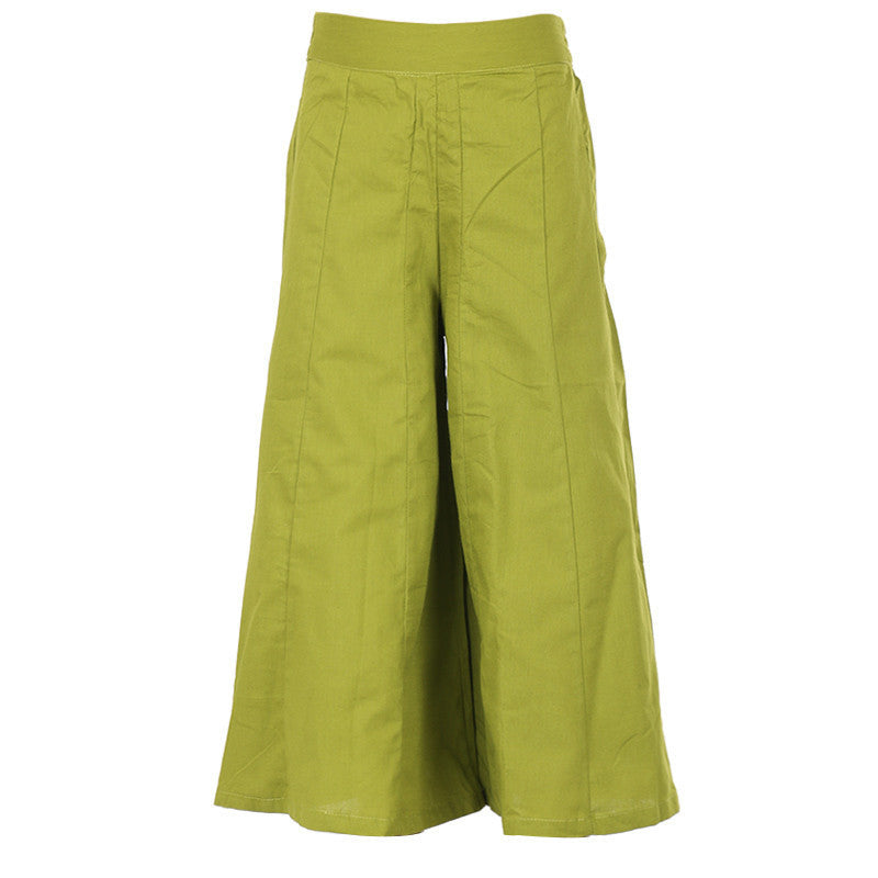 Oasis Green Simple Solid Pattern Pure Cotton Palazzo Pant From eSTYLe Girls