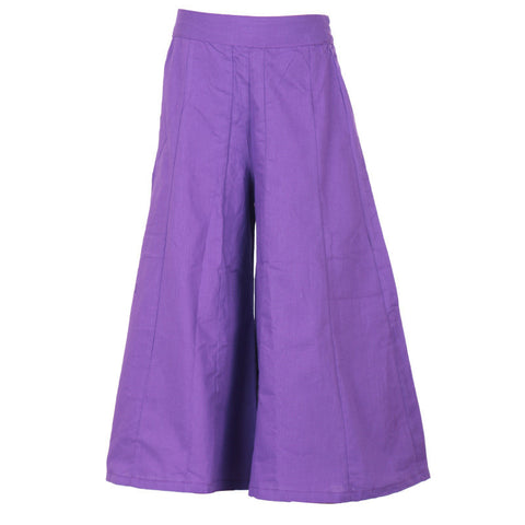 Meadow Violet Solid Pattern Pure Cotton Stylish Palazzo Pant From eSTYLe Girls