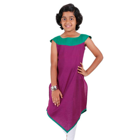 Kids Grape Wine Kurta With V Cut Flare From eSTYLe Girls