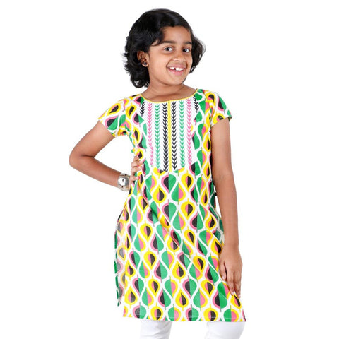 kids yellow casual printed cotton kurta with embroidered yoke from estyle