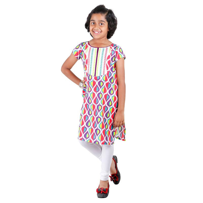 Kids Lavender Printed Cotton Kurta From eSTYLe With Embroidered Yoke