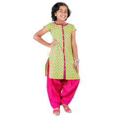 eSTYLe Girls Yellow 'N Blue Printed Kurta With Button Work
