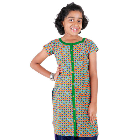 eSTYLe Girls Orange 'N Blue Printed Kurta With Center Slit
