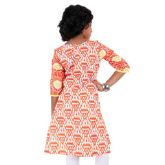 Kids Sun Orange eSTYLe Girls Kurta With Cluster Prints