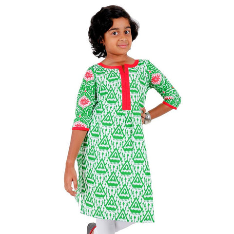 Kids Glossy Green Kurta With Cluster Prints From eSTYLe Girls