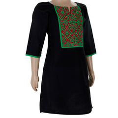 Black Casual Cotton Kurta With Green Embroidered Yoke For Kids