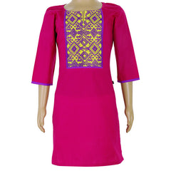 eSTYLe Magenta Cotton Kurta With Purple Embroidered Yoke For Kids