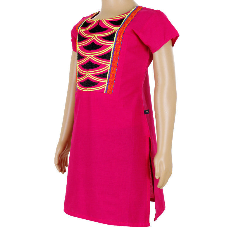 Kids Magenta Sadwe Cotton Kurta With Embroidered Yoke