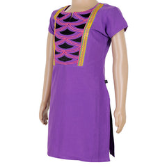 Kids eSTYLe Purple Splash Cotton Kurta