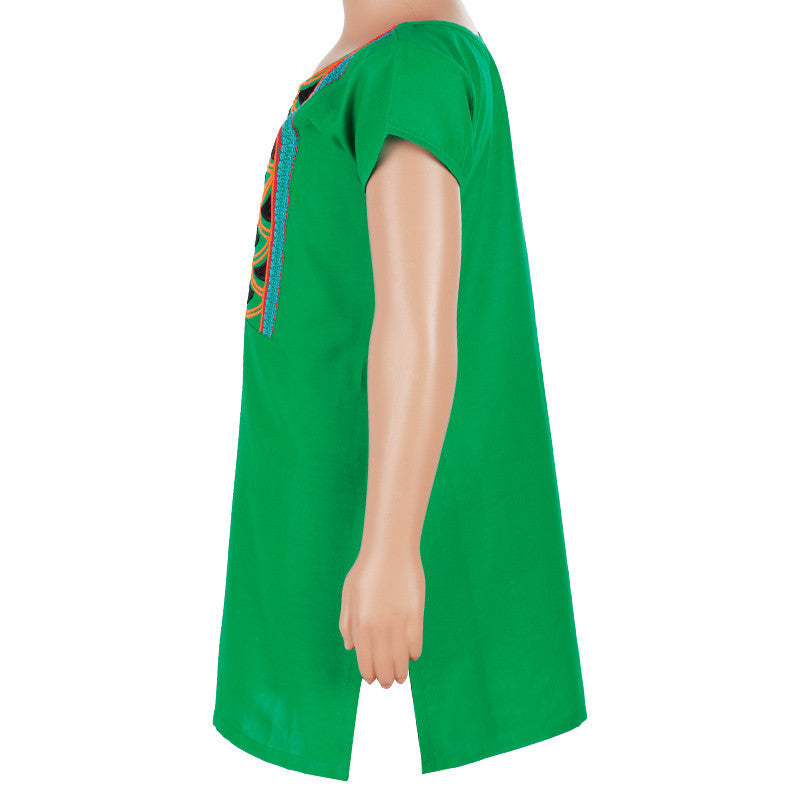 Kids Pitch Green Cotton Kurta From eSTYLe With Embroidered Yoke