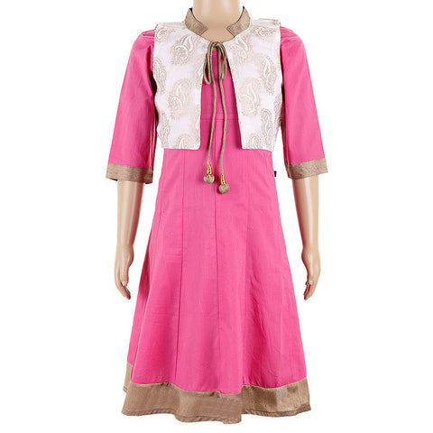 Aurora Pink Party Wear Anarkali With Coat form eSTYLe For Kids