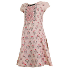 Beige Casual Anarkali With Prints For Kids