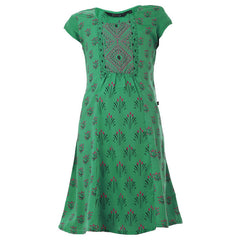 Peacock Green Casual Anarkali With Prints For Kids