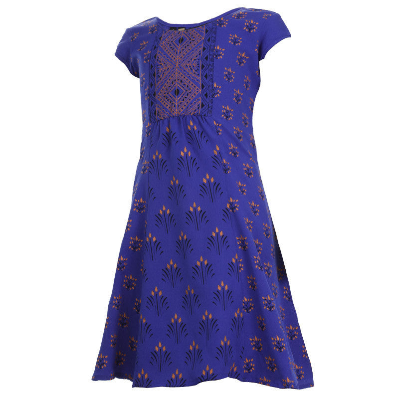 Royal Blue Casual Anarkali With Prints For Kids