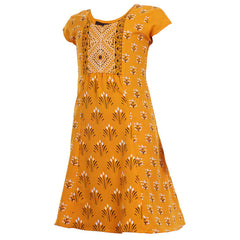 Mango Yellow Casual Anarkali With Prints For Kids