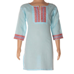 Attractive Kurta In Dyed Cotton With In vogue Embroidery Work