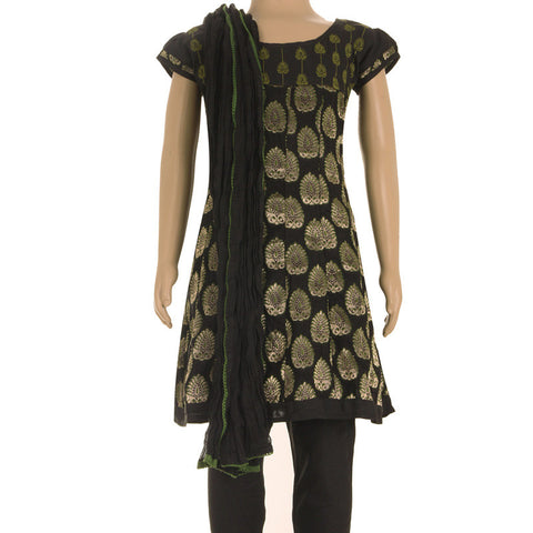 Black Anarkali Suit - Brocade Embroidered Kurta, Silk Coton Chudi And Cotton Dupatta