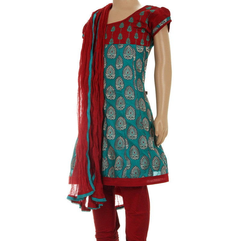 Stylish Teal 3Pce Suit - Anarkali Kurta Enhanced With Embroidery Work With Chudi And Dupatta