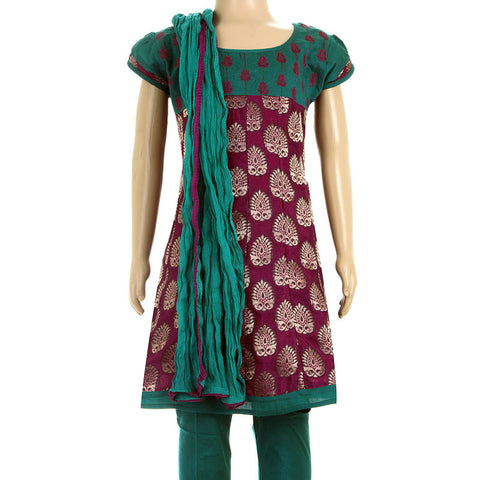 Grape Wine 3Pce Suit - Anarkali Kurta Enhanced With Embroidery Work With Chudi And Dupatta