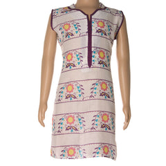 Printed Cotton Sleeveless Kurti With Collar Neck