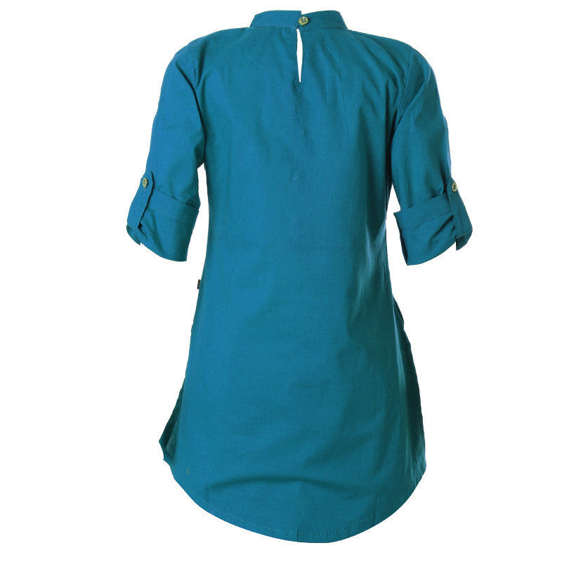 eSTYLe Lake Blue Chinese Collar Cotton Kurta For Girls