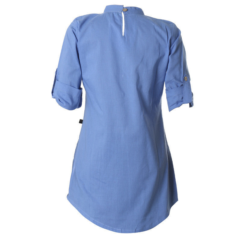 eSTYLe Della Robbia Blue With Chinese Collar Cotton Kurta