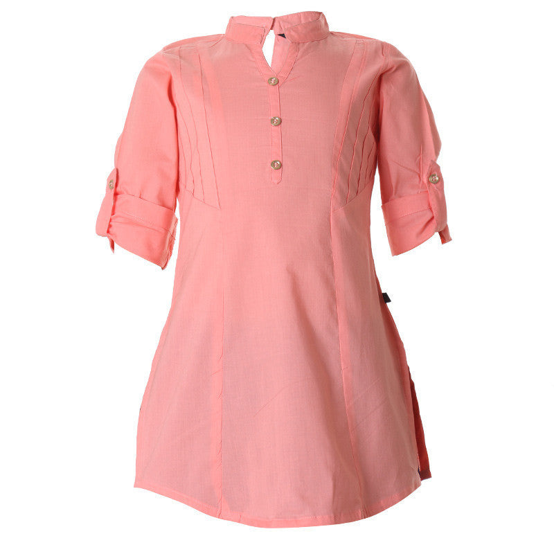eSTYLe Desert Flower Closed Placket Cotton Kurta For Girls