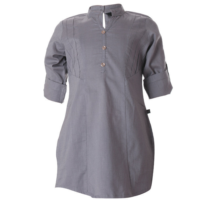 eSTYLe Ash Grey Chinese Collar Cotton Kurta For Girls