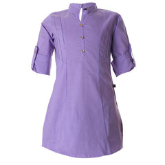 eSTYLe Viola Purple Chinese Collar Cotton Kurta For Kids