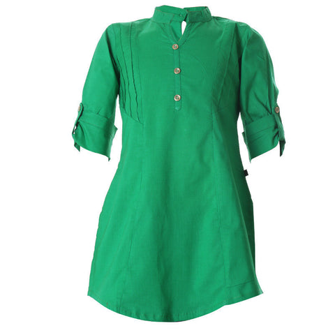 eSTYLe Emerald Green Closed Placket Cotton Kurta For Girls