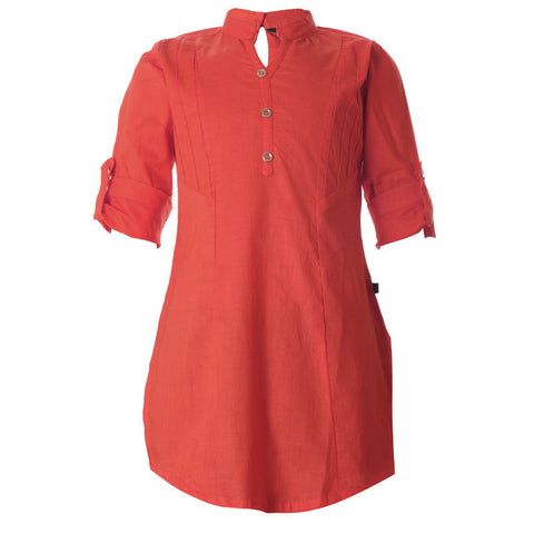 Cherry Tomato Chinese Collar Cotton Pretty Kurta From eSTYLe