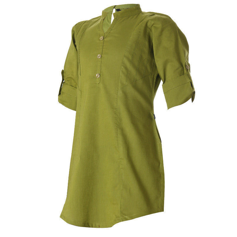 eSTYLe Green Olive Cotton Western Kurta For Girls