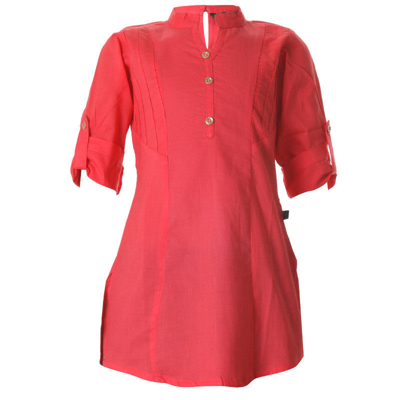 Hibiscus Red Cotton Pretty Kurta For Girls From eSTYLe