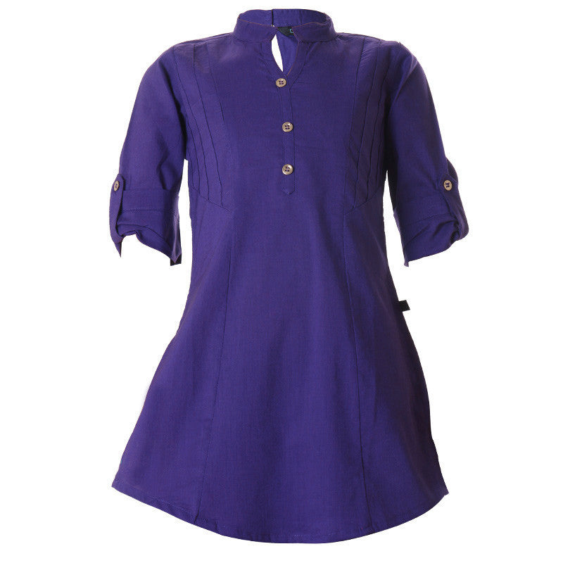 eSTYLe Royal Blue Chinese Collar Cotton Kurta For Girls