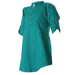 eSTYLe Tropical Green Chinese Collar Cotton Kurta For Kids