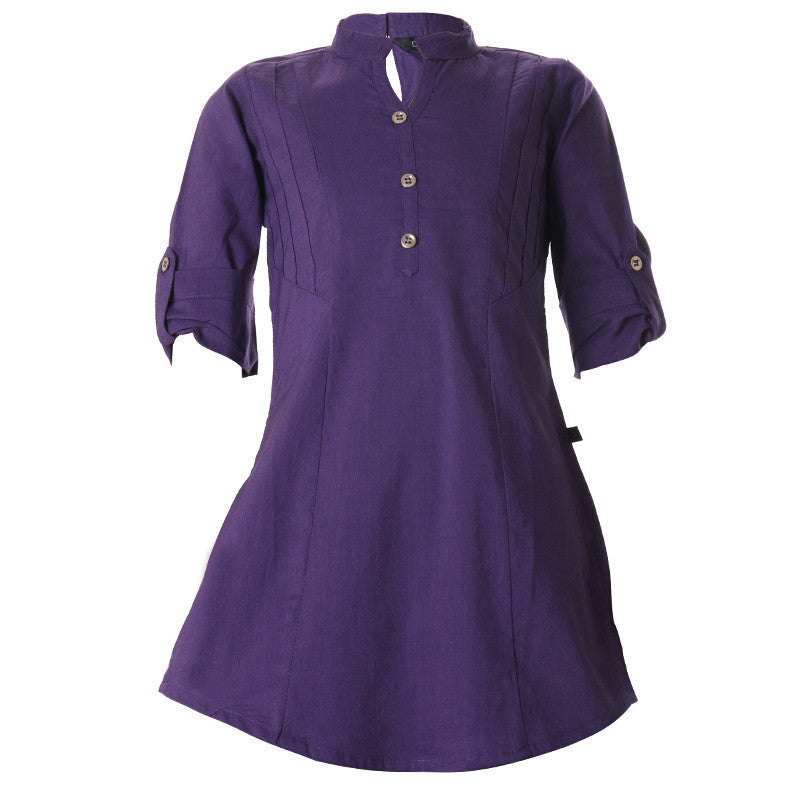 eSTYLe Navy Blue Curved Hemline Cotton Kurta For Girls
