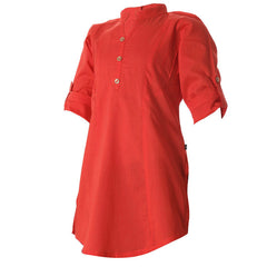 eSTYLe Fiery Red Chinese Collar Cotton Kids Kurta