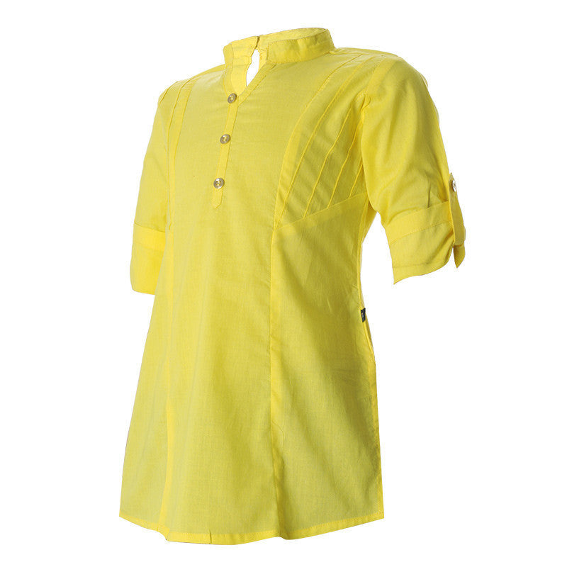 eSTYLe Empire Yellow Cotton Indo-Western Kurta For Girls