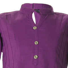 eSTYLe Bright Violet Chinese Collar Cotton Girls Kurta