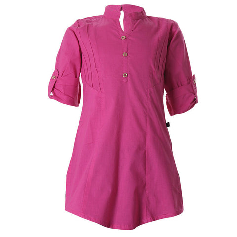 eSTYLe Dark Fuchsia Purple Cotton Trendy Kurta For Girls