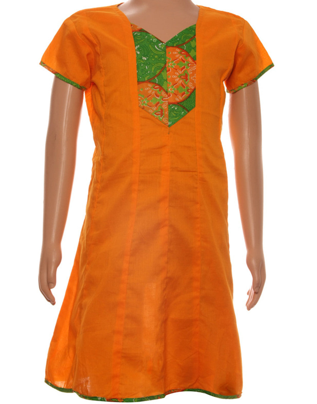 Exclusive eSTYLe Orange Anarkali Kurti With Printed Designer Yoke