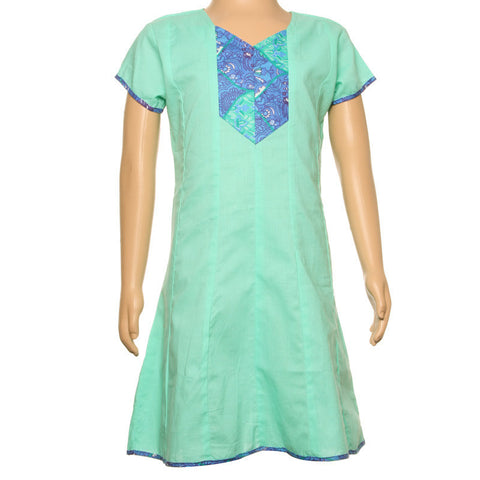 Mello Green Cotton Anarkali Kurti With Printed Yoke From eSTYLe