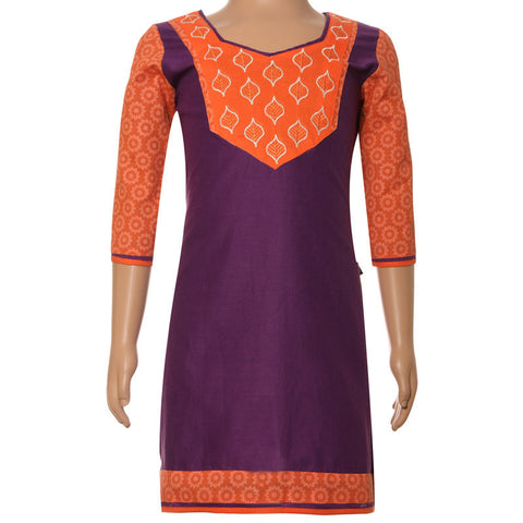 Garcinia Warrenii Purple Anarkali eSTYLe Kurti With Embroided Yoke For Kids