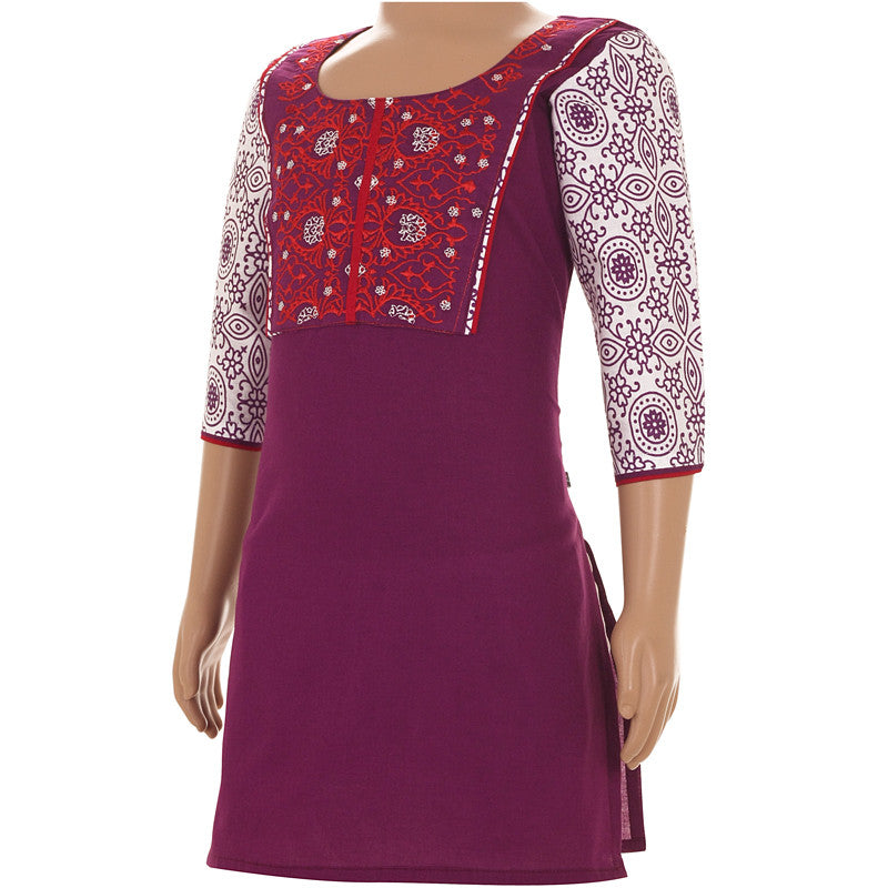 Grape Wine Casual Cotton Kurta With Embroidered Yoke For Kids
