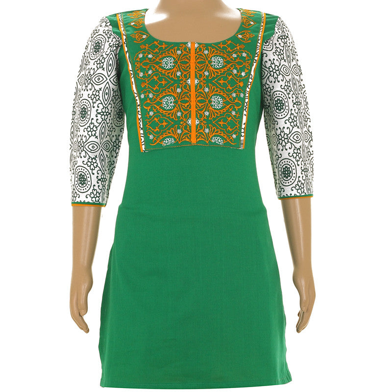 eSTYLe Pepper Green Cotton Kurta With Embroidered Yoke For Kids
