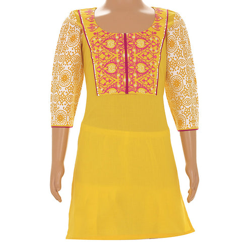 Casual Gold Fusion Cotton Kurta From eSTYLe With Embroidered Yoke For Kid
