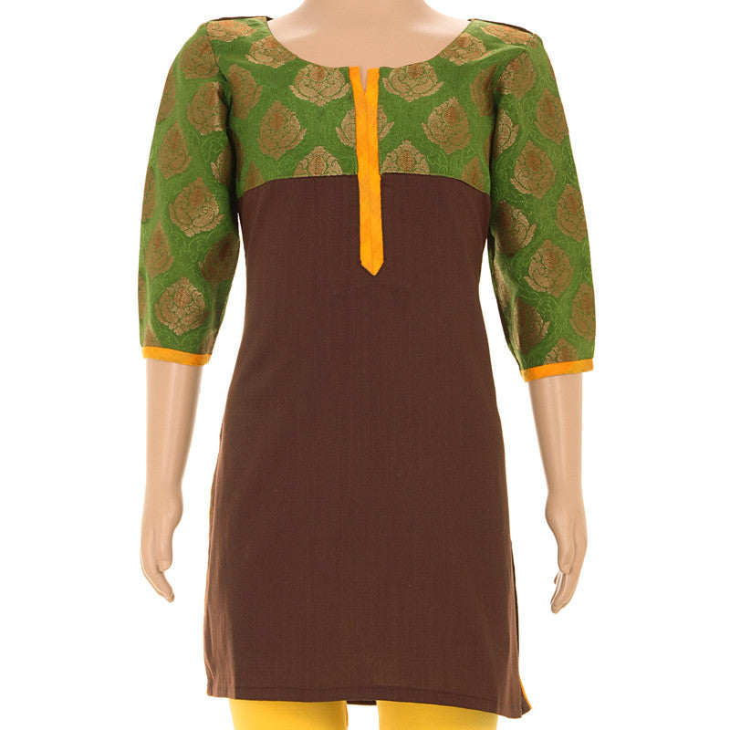 Kids eSTYLe Ethnic Choco Brown Cotton Kurta With Brocade Yoke