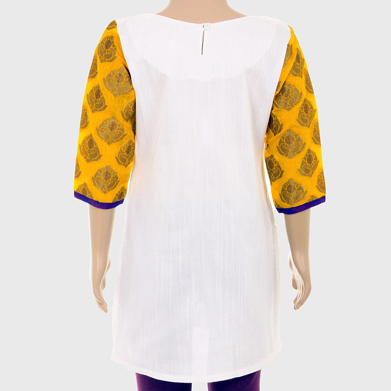 Kids Ethnic White Silk Cotton Kurta From eSTYLe With Brocade Yoke